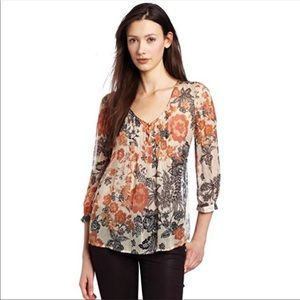 Lucky Brand Talitha Floral Sheer Peasant Blouse